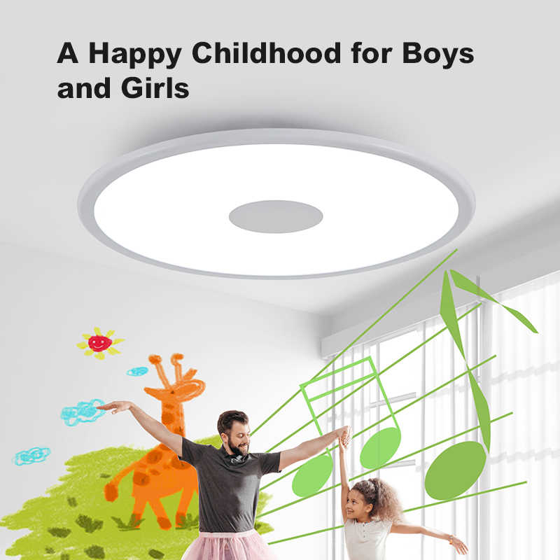 Modern LED ceiling light RGB dimming bluetooth speaker 36W APP control living room bedroom smart ceiling lamp 90-265V