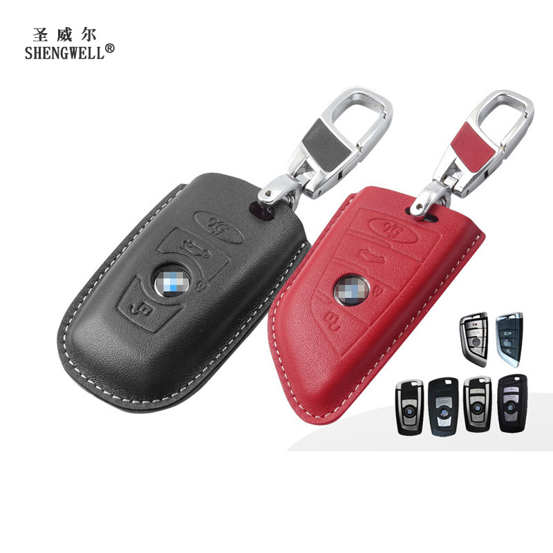 Key Wallet Car Key Fodral för BMW Series 1 2 3 5 7 Original Cow - Plånböcker - Foto 1