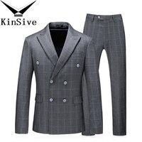 (Jackets+Pants+Vest) 3 Piece Men Suits Slim Custom Fit Tuxedo Brand Fashion Bridegroon Plaid Wedding Suits Blazer Business Dress