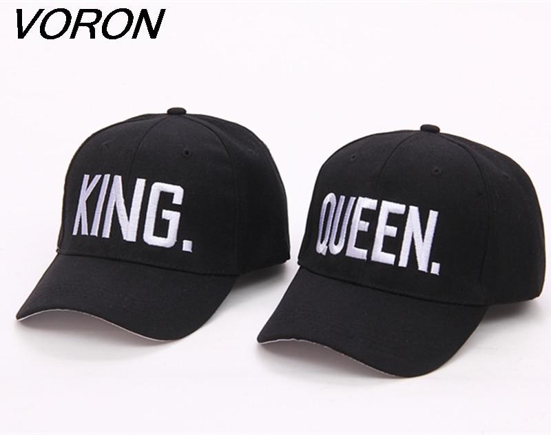 3ebb67aa3 VORON Hot Selling King Queen Letter Embroidery Baseball Cap Couples Hip Hop  Snapback Cap for Man Hat Women bone aba reta gorr