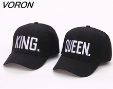 44142bb2c8f VORON Hot Selling King Queen Letter Embroidery Baseball Cap Couples Hip Hop  Snapback Cap for Man