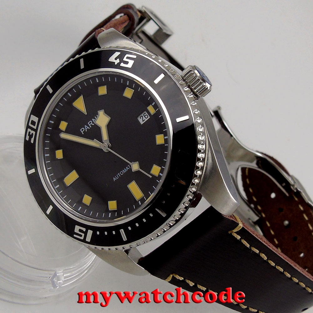 43mm Parnis black dial sapphire glass date miyota automatic mens wristwatch P704