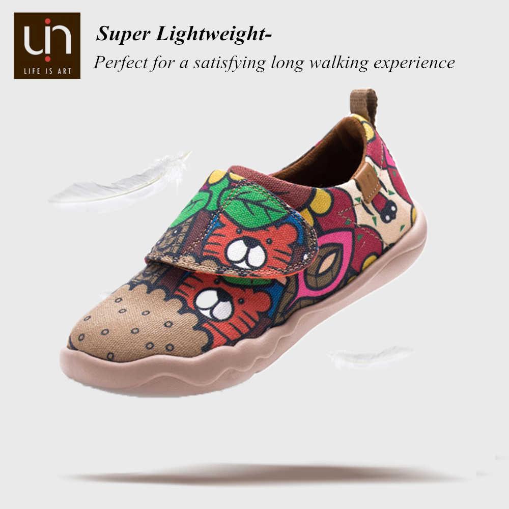 UIN Colacola Thiết Kế Tay Little Kids Giày Dễ Dàng Móc & Vòng Lặp Nhẹ Giày Sneaker Bé Thoải Mái Giày Bé Gái cậu Bé Trai