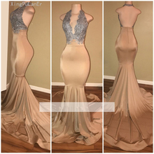 Champagne Prom Dresses 2019 Mermaid Halter Appliques Lace Backless Party Long Gown Evening Robe De Soiree