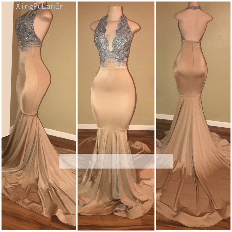 Champagne   Prom     Dresses   2019 Mermaid Halter Appliques Lace Backless Party Long   Prom   Gown Evening   Dresses   Robe De Soiree