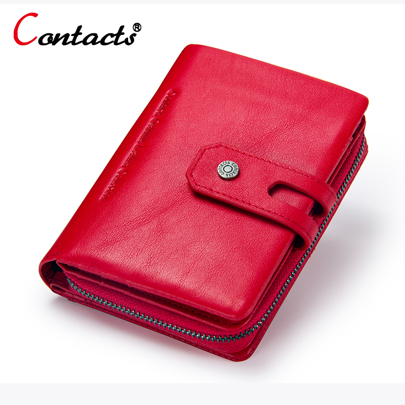 CONTACT'S Women Wallet Genuine Leather Wallet female coin purse Luxury Brand Card Holder short Clutch bags Money Bag Red Green blingbling shiny sequins leather wallet women short zipper wallet purse fashion wallet key coins bags female clutch money bags