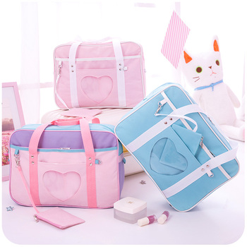 Preppy Style Pink Travel Shoulder School Bags For Lady Canvas Large Capacity Casual Luggage Organiser Tote Bag 1