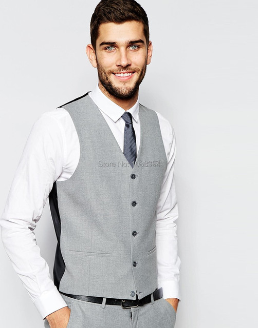 a74c499b3 Dos homens Slim Fit Colete Masculino Terno Colete Roupas Sociais Moda Light  Grey Noivo de Casamento