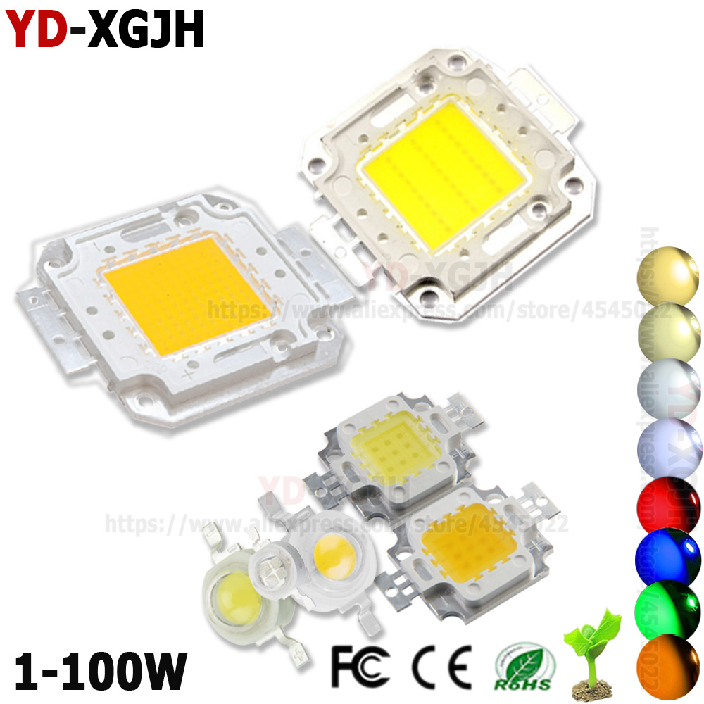 High Power LED COB Chip Warm Cool White Red Blue Yellow 1W 3W 5W 10W 20W 30W 50W 100W SMD Light  For DIY Outdoor LED Spotlight