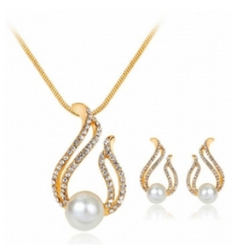 New Cute European Style Water Drop Simulated-pearl Crystal Jewelry Sets for Women Chain Necklace Earrings Bridal Wedding Gift