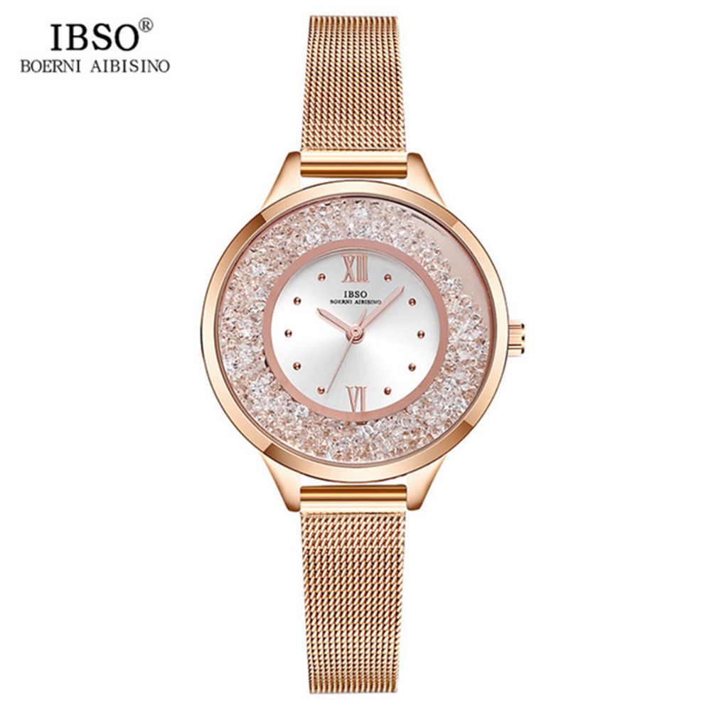 2019 IBSO Marke Frauen Mode Uhr Mesh-Armband Uhr Weibliche Uhr Diamant Kristall Uhr Rose Gold Montre Femme S8661L