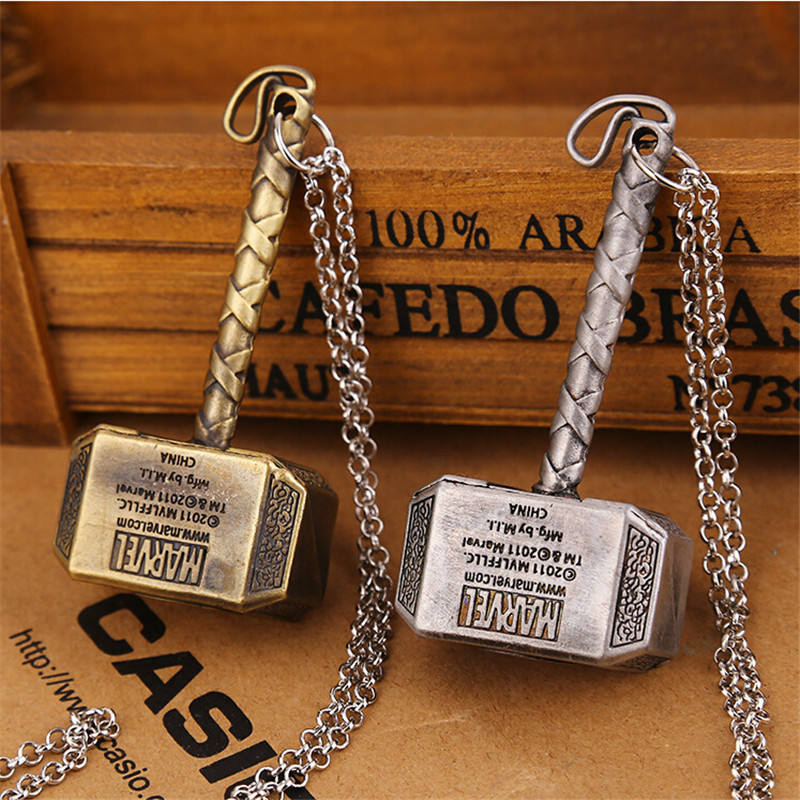 Hot Thor Hammer Pendant Necklace Vintage Alloy Necklace Dark World Necklaces Classic Movies Necklaces For Men