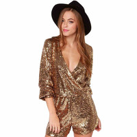 Plus Size 2018 Sexy women sequins glitter Jumpsuit Gold Sequins loose Fashion Playsuits Solid Deep V Neck party jumpsuits S XL