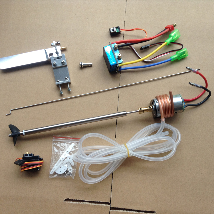 RC Boat Power Set 380 Motor+Shaft Kit+Coupling+320A Brush ESC+95mm Steering Rudder+M6 Outlet Water Mouth+Rod+Tube+Servo aluminum water cool flange fits 26 29cc qj zenoah rcmk cy gas engine for rc boat