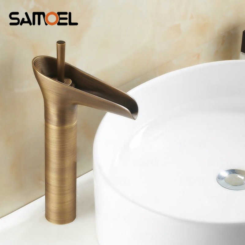 Basin Waterfall Faucets Mixer Taps Antique Brass Finished Hot and Cold Deck Mounted Cup Sink Faucet
