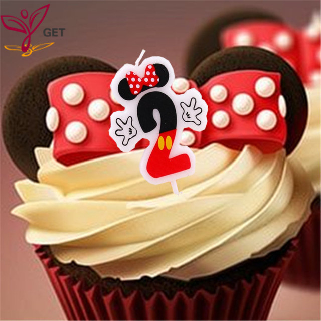 1pc Minnie Mouse Number 2 Candles Baby Party Supplies Kids Birthday Evening Decorations