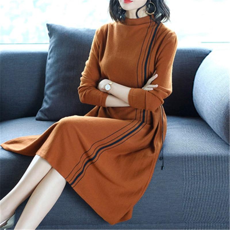 2019 nouveau automne hiver tricot robe femmes longue section col roulé femme à manches longues Bottoming laine pull robe X116 - 5