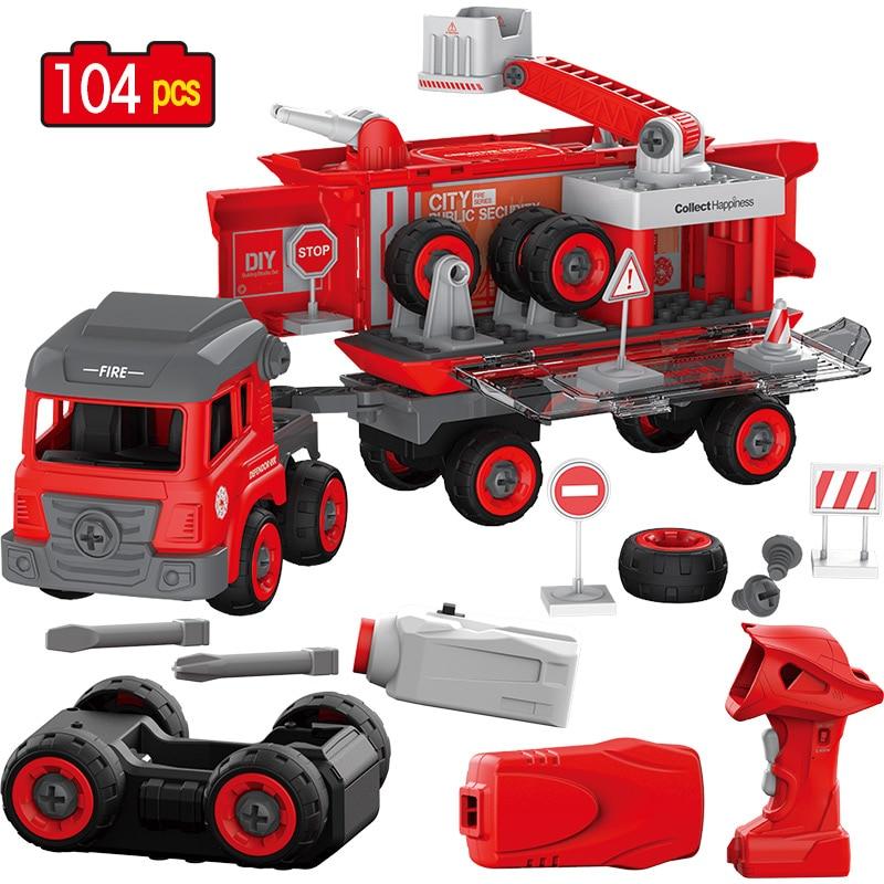 Jouets Pour Enfants bricolage Grande Taille Ville Département Blocs De Construction Legoingly Duploed RC Voiture 104 pièces Police Camion D'ingénierie Brique