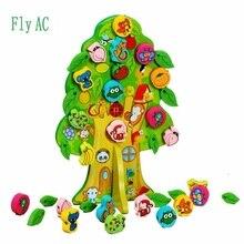 1 Állítsa be az új DIY színes 3D fából készült játékot Állati gyümölcsfa ház húzó gyöngyök Baba születésnapi ajándék gyerekek kedveli oktatási játékok
