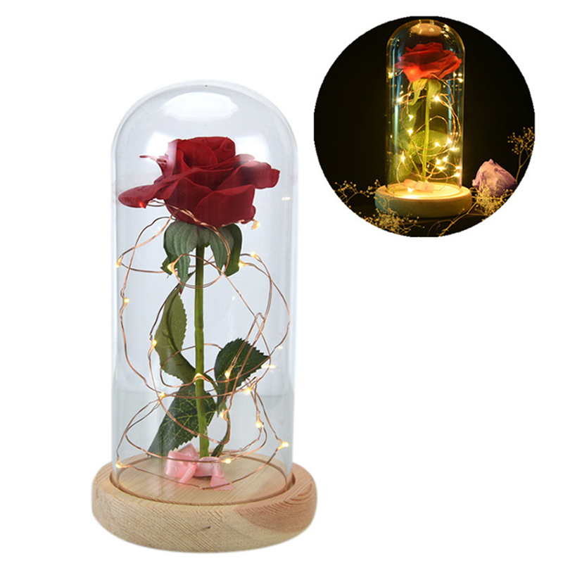 Wedding Decoration Beauty and The Beast Red Rose In A Glass Dome on A Wooden Base for Valentines Gifts Birthday Party Decor,5