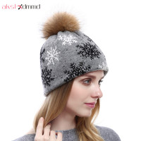 AKSLXDMMD Cashmere Hats 2019 New Autumn and Winter Women Real Raccoon Fur Ball Hat Fashion with Diamond Knitted Snow Caps LH1095