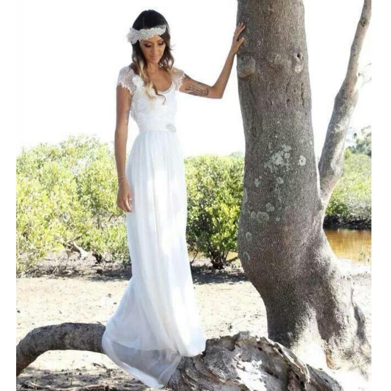 Short Sleeve Lace Wedding Dresses 2016 Chiffon Simple: 2016 Fashion Bohemian Style Beach Wedding Dresses Short