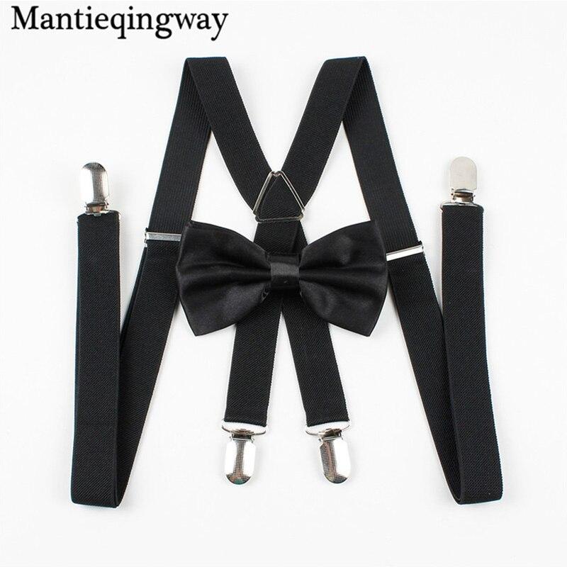 Mantieqingway Classic Solid Color Suspenders Bow Tie Set Candy Color Polyester Wedding Bowtie Suspenders Women Men Elastic Brace