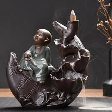The Little Monk Incense Burner Smoke Waterfall Backflow Holder Lutus Flower Ceramic Censer Mountain River Handicrafts