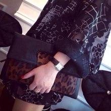 Die neue Europäische leder handtasche rosshaar clutch leopard umschlag schulter diagonalen kreuz kleine tasche