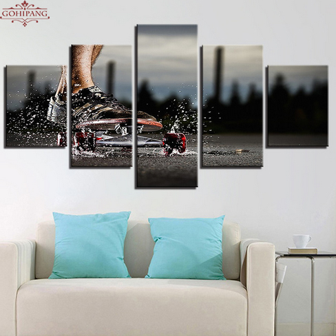 Canvas Pictures Living Room Decor HD Prints 5 Pieces Extreme Sports Skateboard Paintings Skateboarding Poster Wall Art Framework