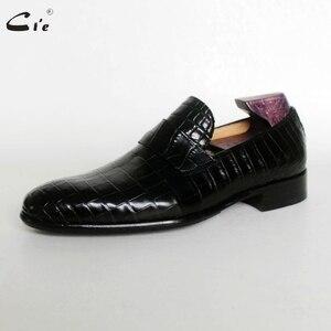 Image 5 - Cie עגול הבוהן אגורה עגל עור בולט תנין עיצוב שחור אור סירת נעל בעבודת יד בלייק לנשימה גברים עור loafer173