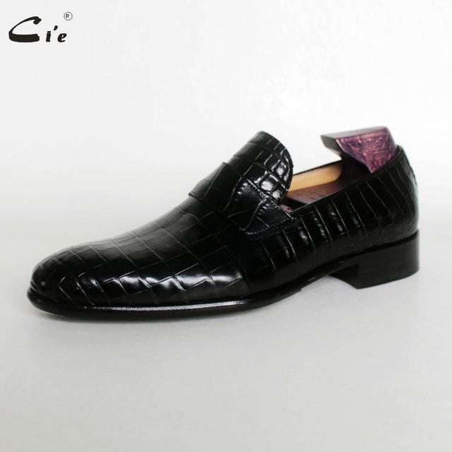 cie round toe penny calf leather embossed crocodile design black light boat shoe handmade blake breathable men leather loafer173