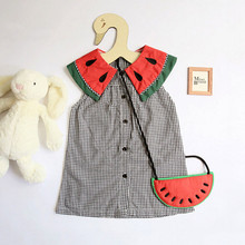 Cute Plaid Baby Girls dress Infant Watermalons Princess Wedding Summer Party Casual Dress