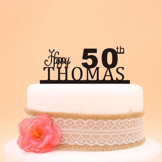 Aliexpress.com : Buy Happy 50th Birthday Cake Topper,Custom Name ...