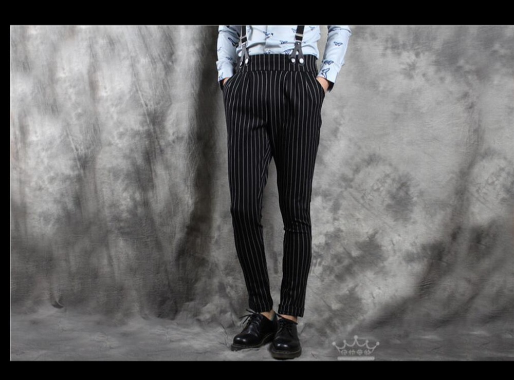 HOT new men casual tapered pants personality Slim Overalls tide stretch feet trousers bib pants jumpsuit singer costumes Rompers