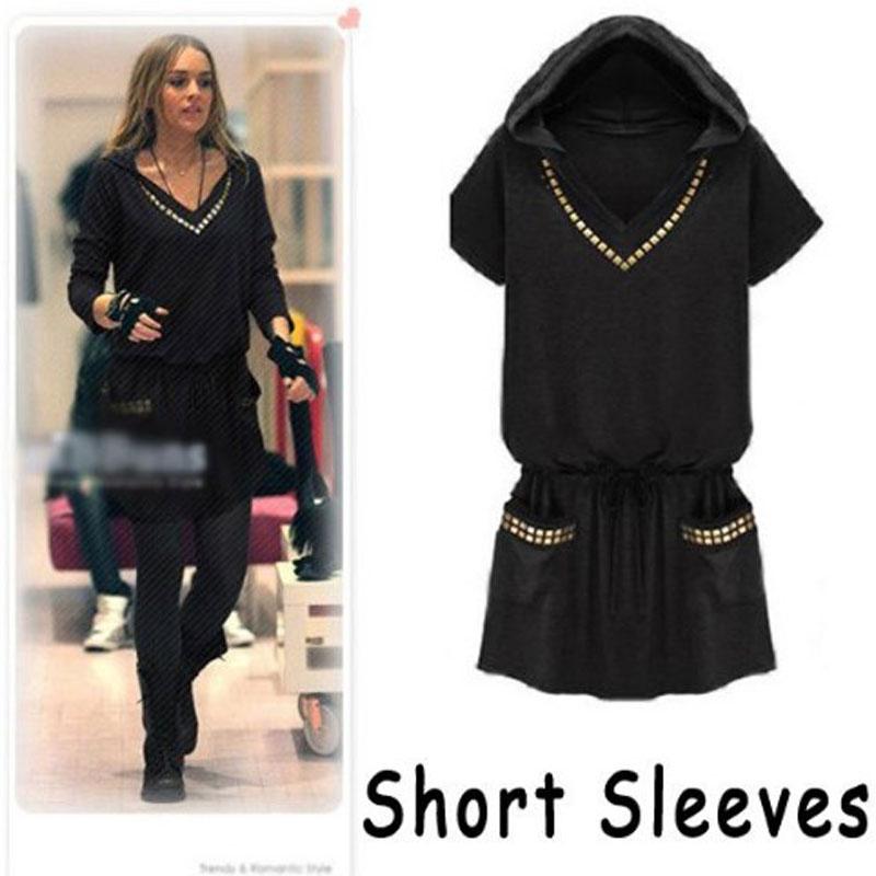 Popular Black Hooded Dress-Buy Cheap Black Hooded Dress lots from ...