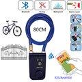 Электрический умный дверной замок RAYKUBE с Bluetooth, приложение для телефона, водонепроницаемый Противоугонный замок, 110дб, сигнальный трос для д...