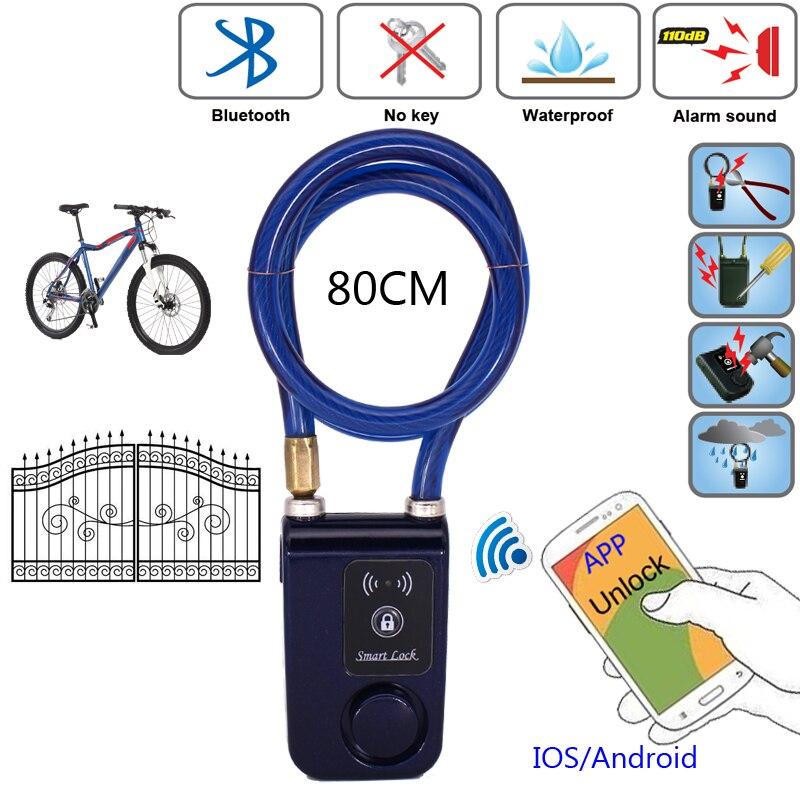 RAYKUBE cerradura de puerta inteligente eléctrica con aplicación de teléfono Bluetooth impermeable antirrobo bloqueo 110dB cuerda de alambre de alarma para puerta y bicicleta