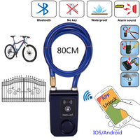 RAYKUBE Electric Smart Door Lock With Bluetooth Phone APP Waterproof Anti Theft Lock 110dB Alarm Wire Rope For Door & Bicycle
