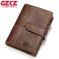 GZCZ Genuine Leather Retro Men Wallets High Quality Famous Brand Hasp Design Male Walet Card Holder
