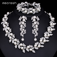 Silver Pearl And Crystal Necklace Earring Bracelet Set Women Wedding Jewellery TL283 SL089