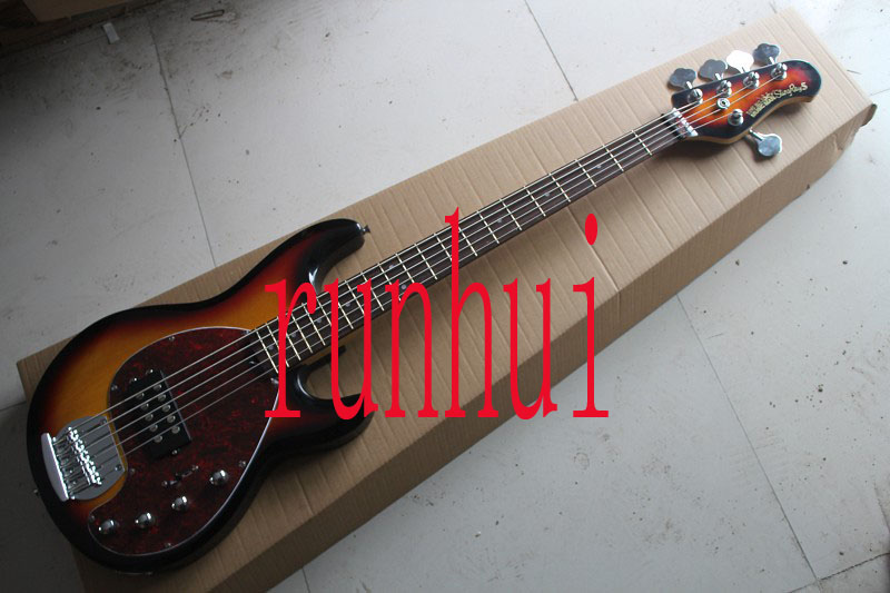 factory sell music man stingray 5 strings signature bass with active pickups 9v battery sunburst. Black Bedroom Furniture Sets. Home Design Ideas