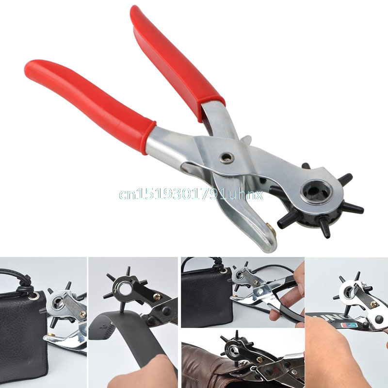 REVOLVING LEATHER PUNCH RIVET PLIER 6 SIZES DIY BELT EYELET PUNCHER 6 HOLE CUT