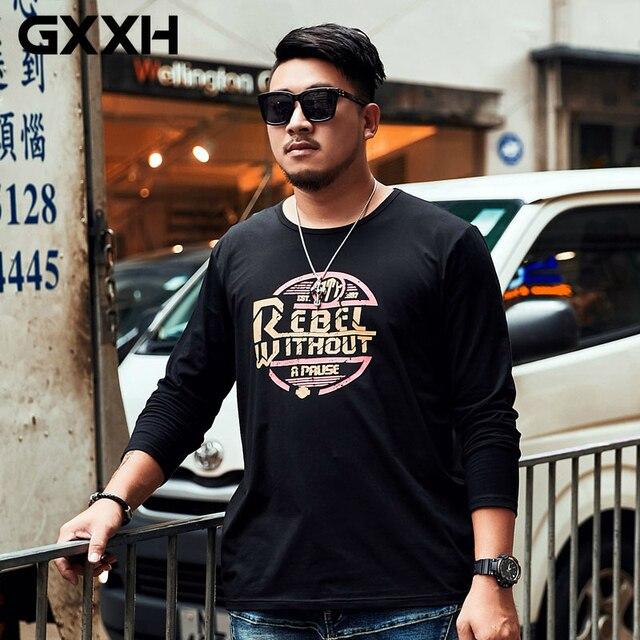 47921795541 GXXH Oversize Tide Large Mens Long-sleeved T-shirt Men s Loose Leisure  Creative Print