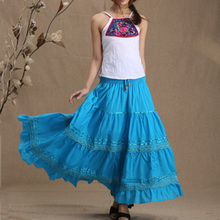 Летние Повседневное Цыганский, Богемия BOHO хлопок Spani женские плиссированные длинные макси юбки для женщин