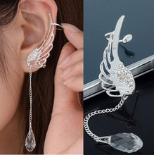 1pcs Women Silver Plated Crystal Wing Drop Dangle Ear With Chain Cuff Stud Clip Earrings For Right Ear