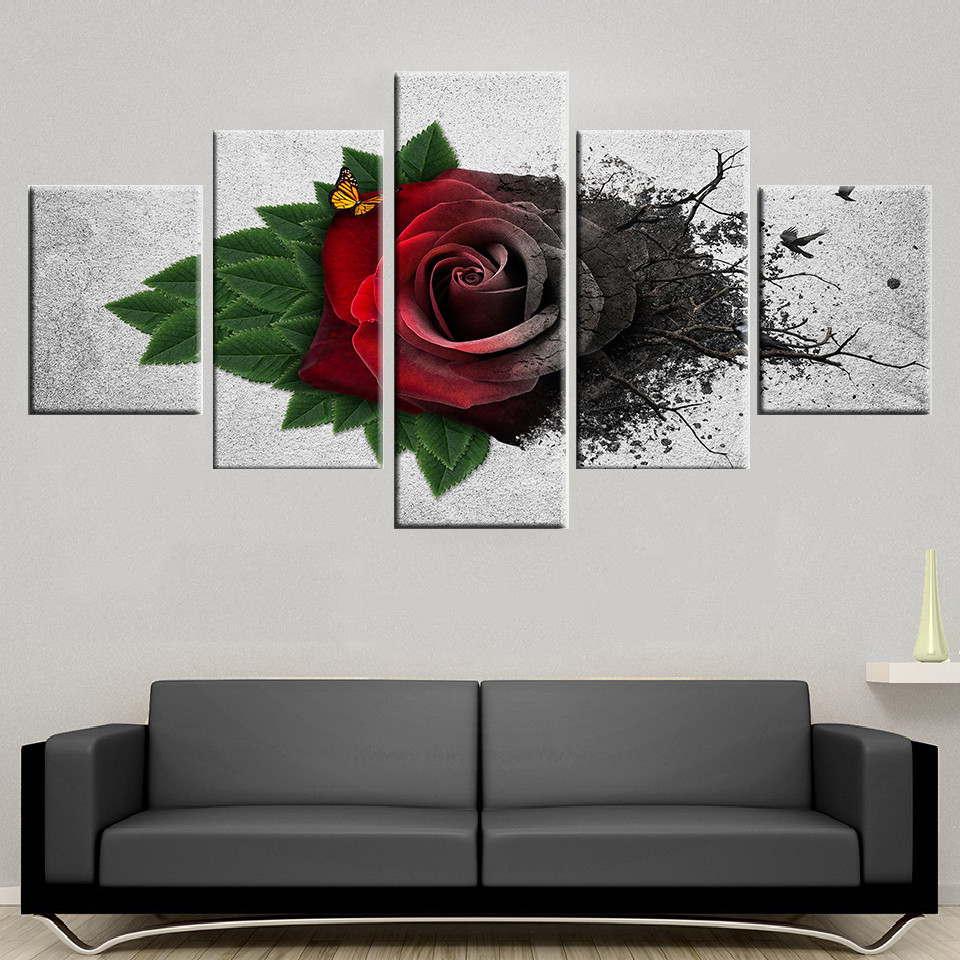 Wall-Art-Modular-Canvas-Pictures-5-Pieces-Red-Garden-Roses-Flowers-Painting-HD-Printed-Butterfly-Poster (2)