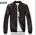 Autumn and winter stand collar breathable short leather coat men motorcycle leather clothing thickening plaid PU leather jackets