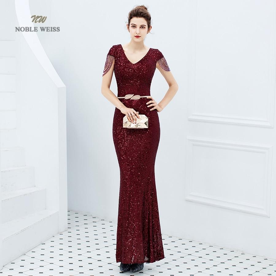 Evening Dresses Long Dark Red Prom Dress Sequin Women Dress Evening Party Mermaid Dress Formal Dress