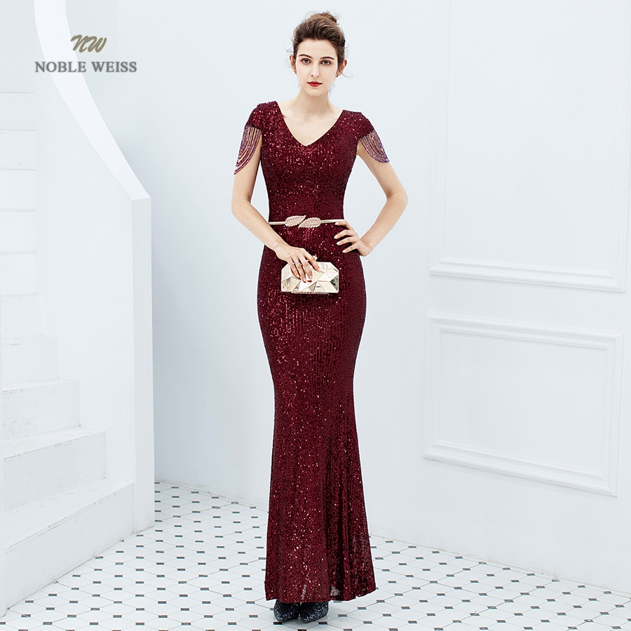 Evening Dresses Long Dark Red Prom Dress Sequin Women Dress Evening Party  Mermaid Dress Formal Dress Women Elegant